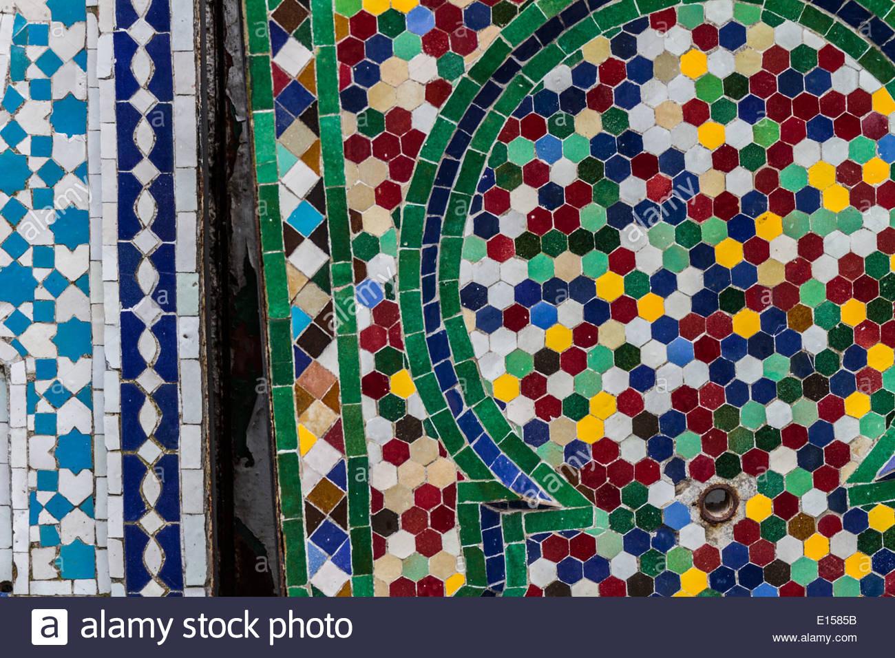Close up di piastrelle a mosaico marocco foto immagine stock