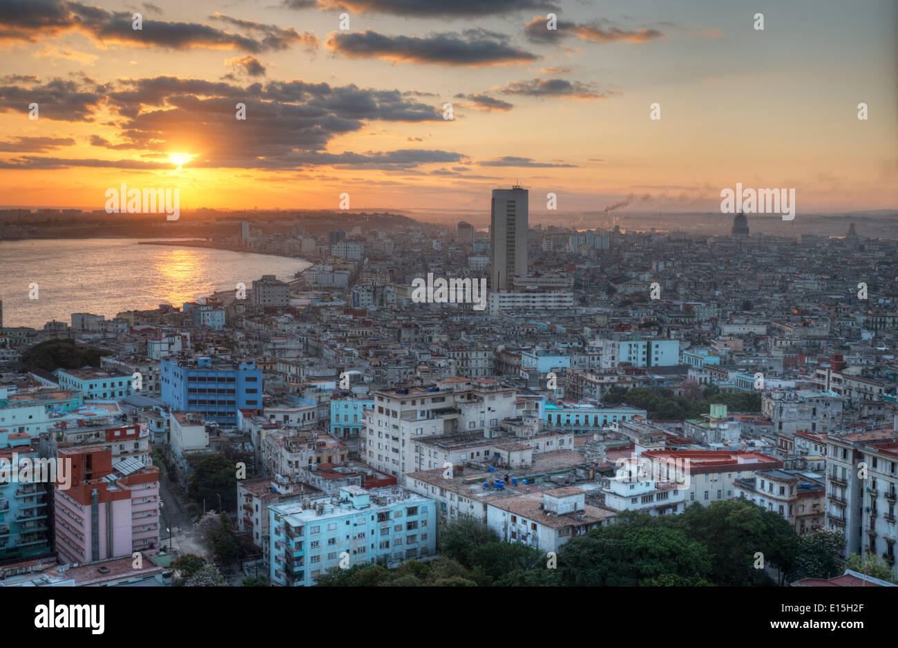 Vista del centro storico di La Habana, Cuba Immagini Stock