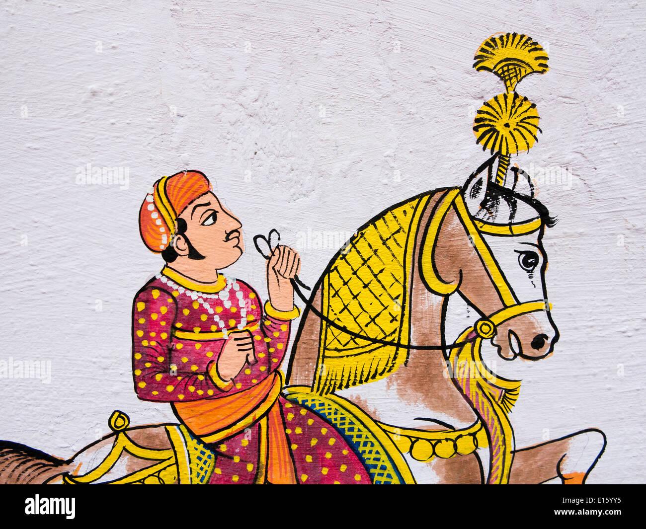 India Rajasthan, Udaipur, tradizionale pittura murale di Rajput uomo a cavallo Immagini Stock