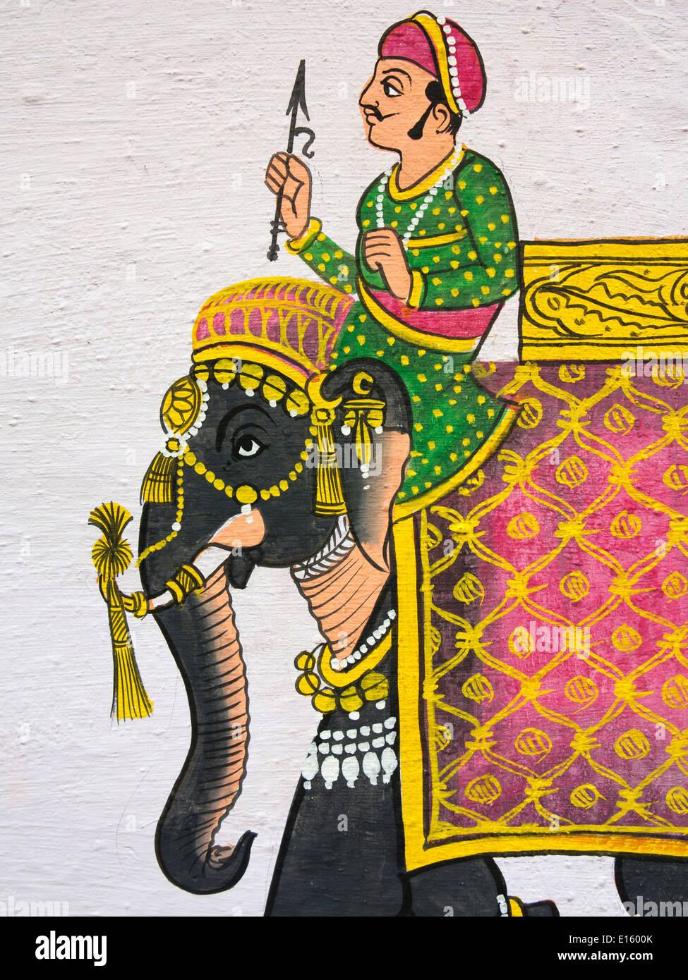 India Rajasthan, Udaipur, tradizionale pittura murale di Rajput uomo su elefante Immagini Stock