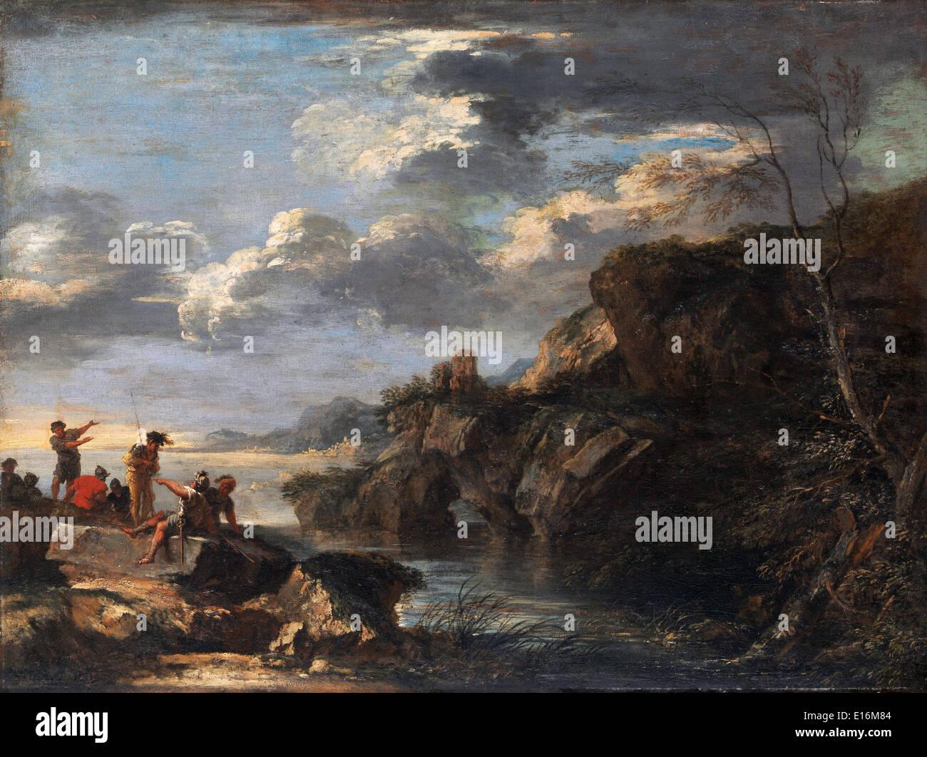 Banditi sulla costa rocciosa di Salvator Rosa, 1660 Immagini Stock