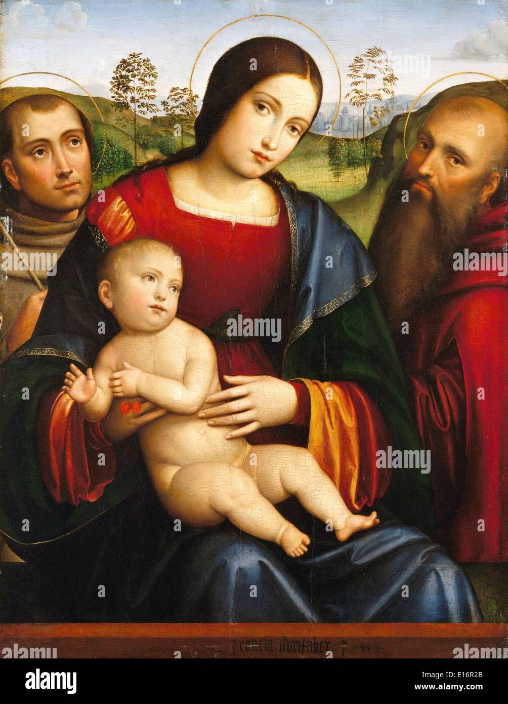 Madonna con il Bambino e i santi Francesco e Girolamo di Francesco Francia Immagini Stock