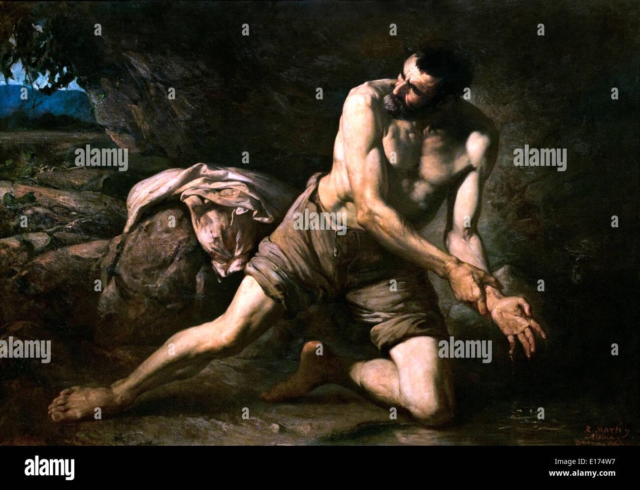 """Il criminale. """"Il marchio del crimine"""" 1866 Ramon Martí i Alsina 1826-1894 Spagna - Spagnolo Immagini Stock"""