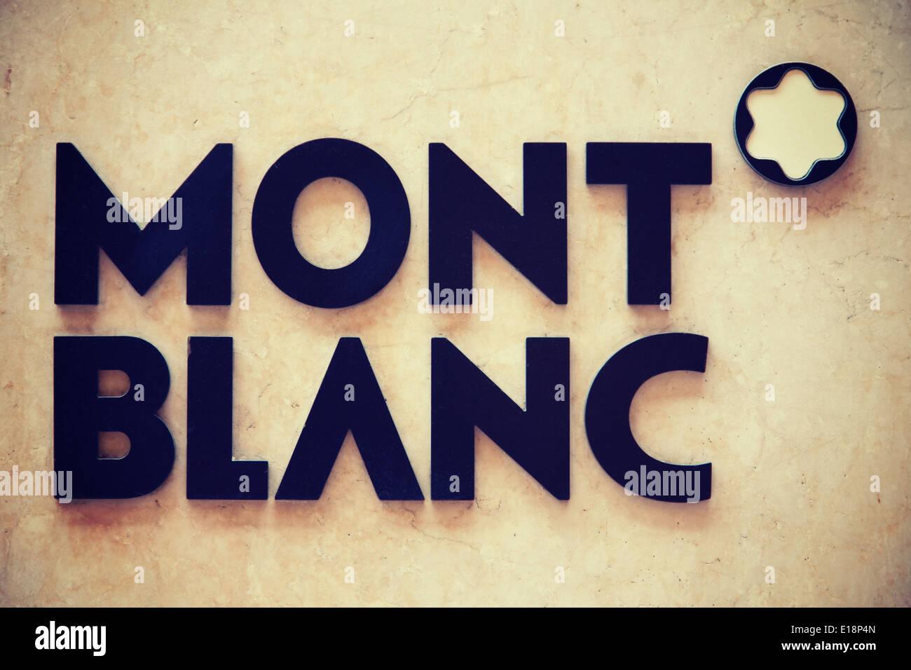 Società svizzera Mont Blanc nome della marca Immagini Stock