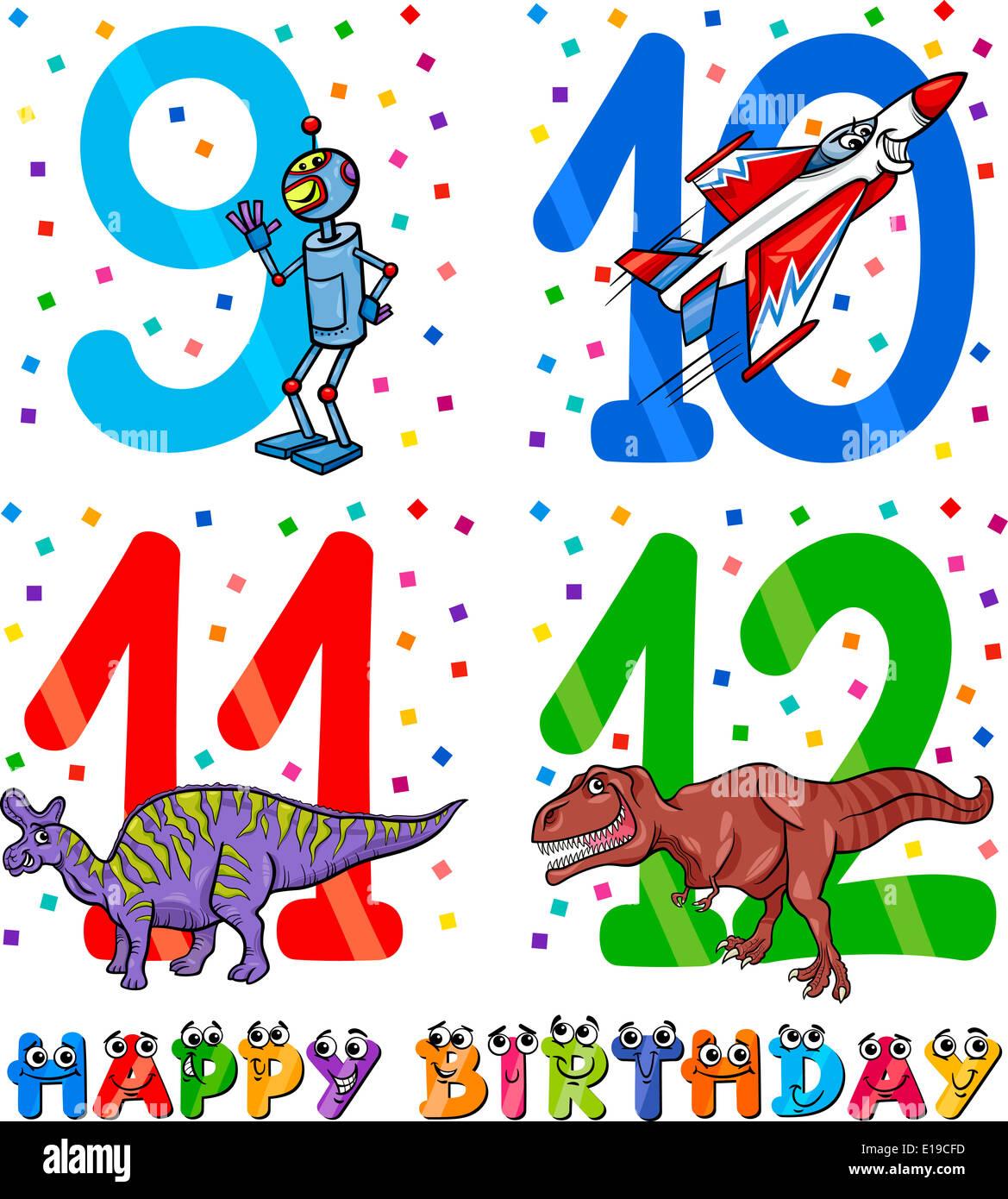 Cartoon Illustrazione Del Buon Compleanno Anniversario Disegni Per