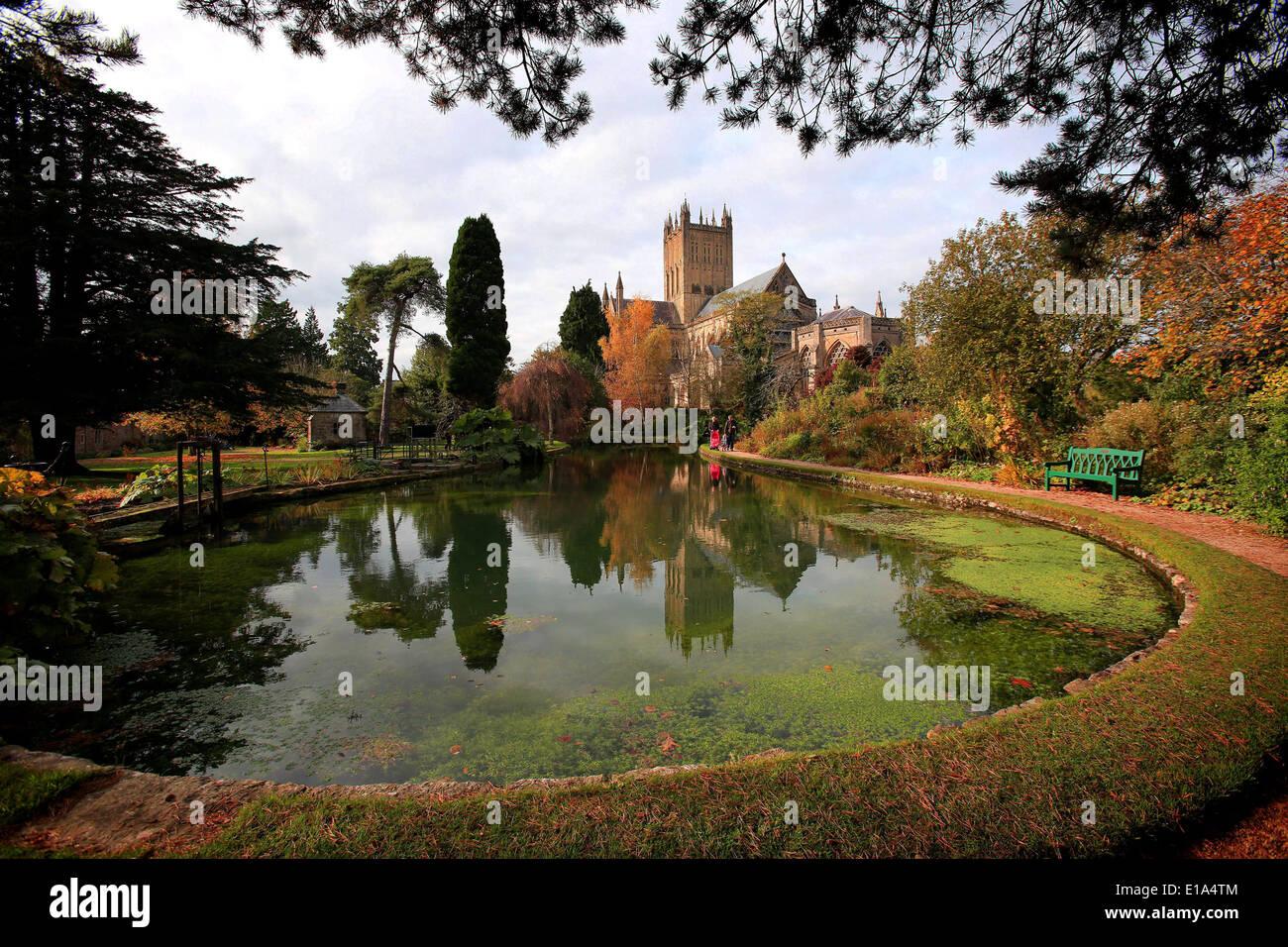 Cattedrale di Wells, Somerset. Foto Stock