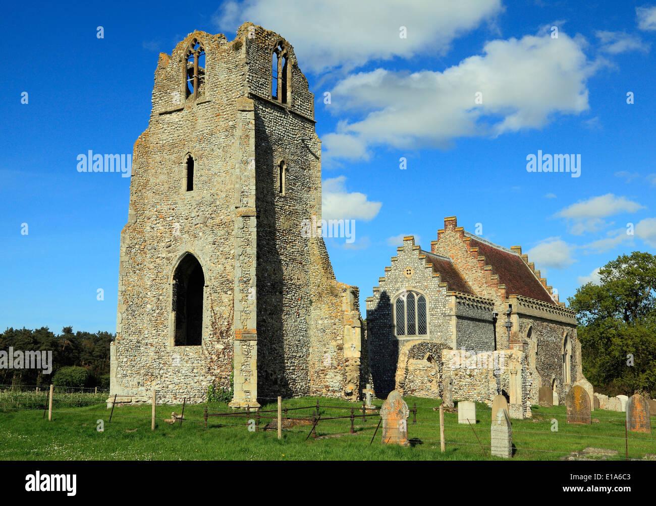 Barningham, Norfolk, parzialmente in rovina chiesa parrocchiale medievale, chiese inglese England Regno Unito Immagini Stock