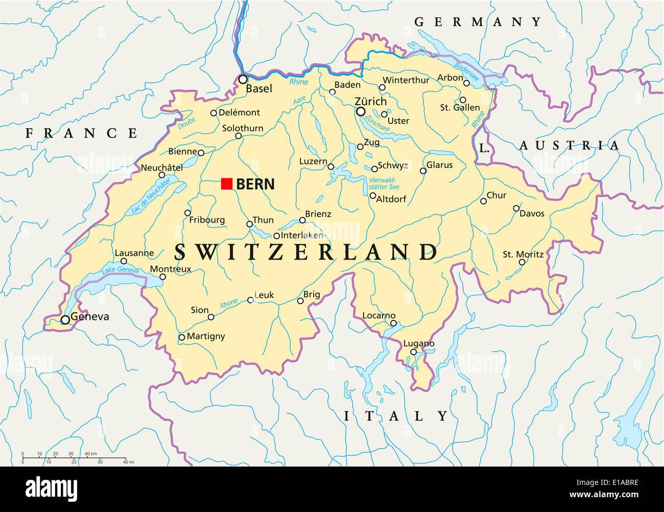 Cartina Svizzera E Confini