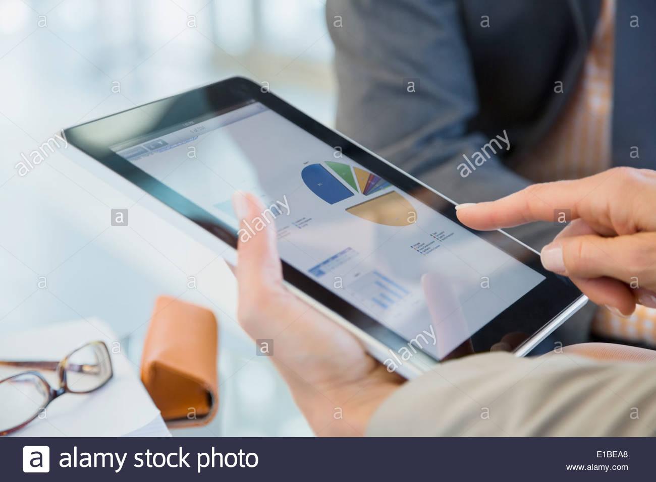 La gente di affari rivedendo i dati finanziari sulla tavoletta digitale Immagini Stock