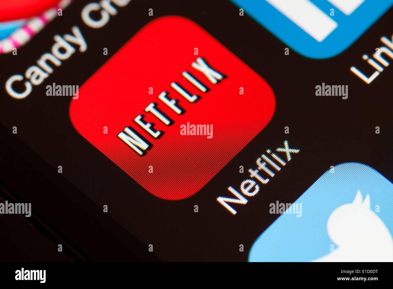 Netflix Icona app sul telefono cellulare. Immagini Stock