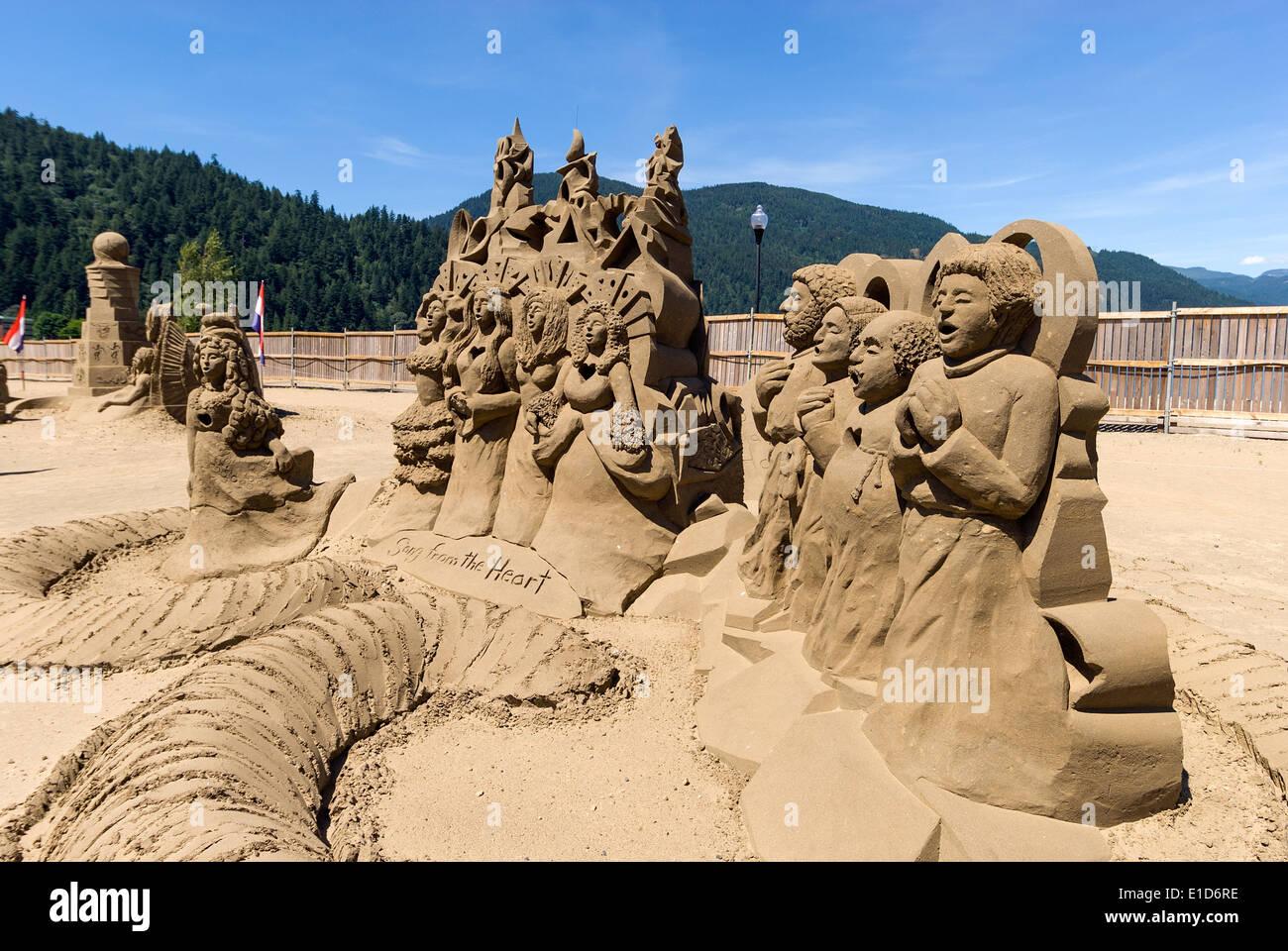 Elk203-1434 Canada, British Columbia, Harrison Hot Springs, le sculture di sabbia Immagini Stock