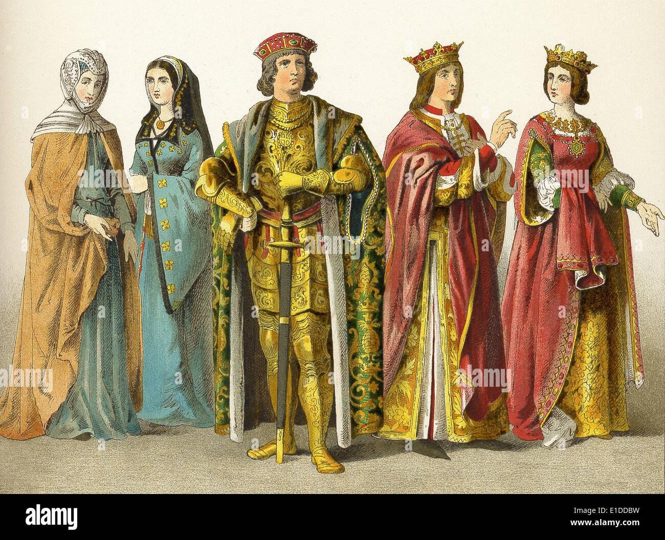 Nobiltà spagnola e royalty nel 1400s: due signore di rango, conteggio, il Re Ferdinando e la Regina Isabelle. Immagini Stock