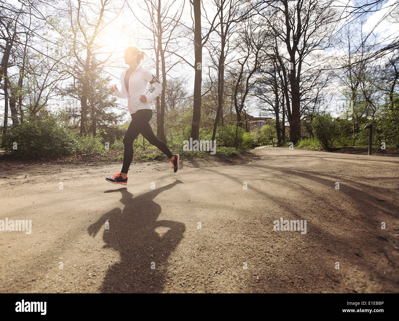 Sano giovane donna fare jogging nel parco. Fitness modello femminile in esecuzione nella foresta. Caucasica modello fitness esercizio all'esterno. Immagini Stock