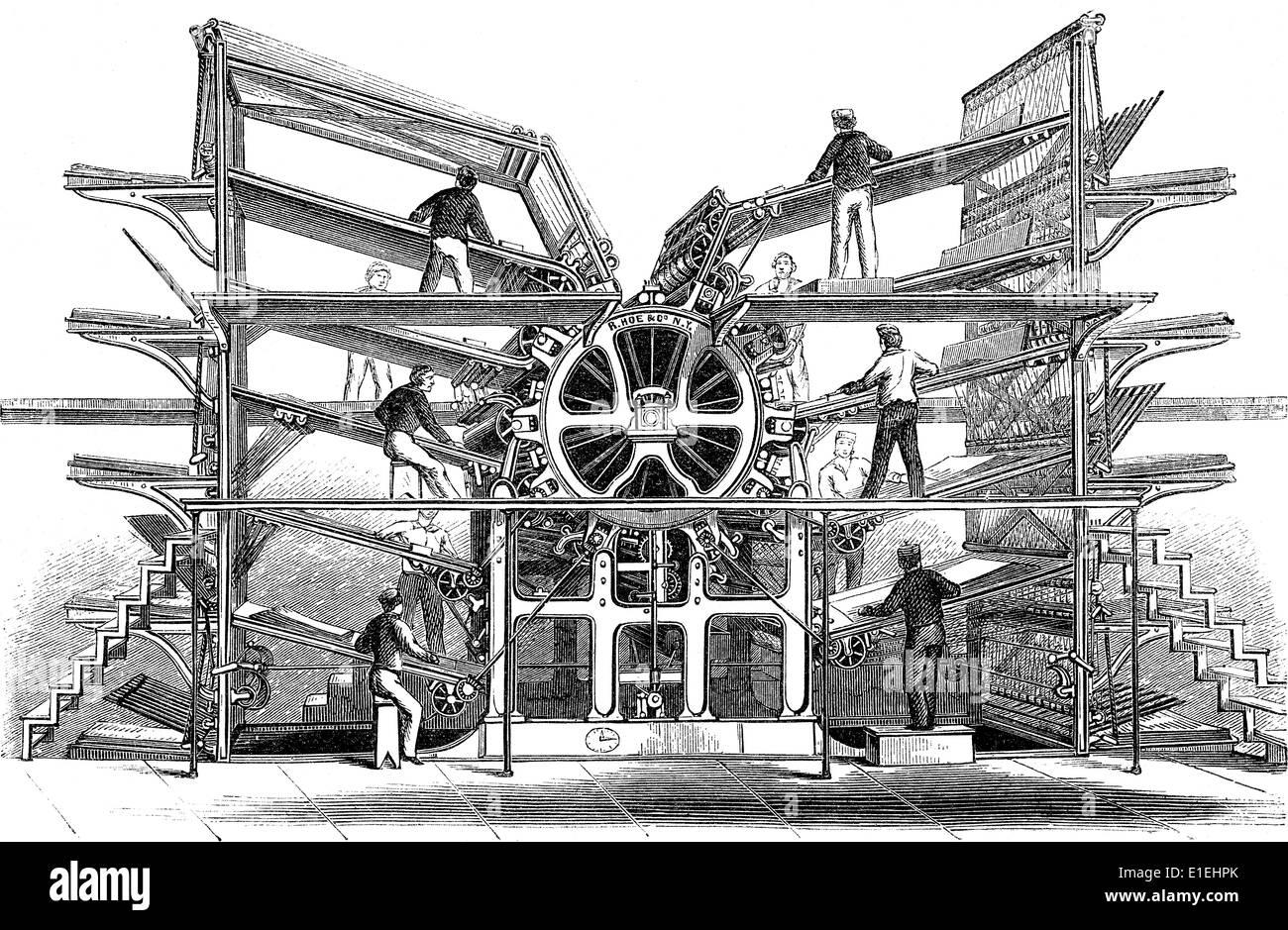 Illustrazione storica del XIX secolo, Hoe a 10 rotante del cilindro da stampa, Immagini Stock