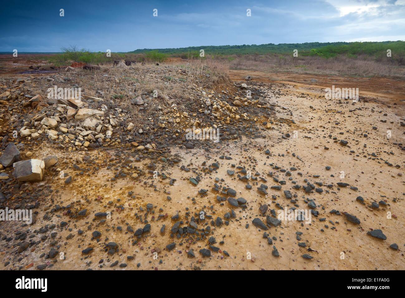 Paesaggio eroso in Sarigua national park (deserto) nella provincia di Herrera, Repubblica di Panama. Immagini Stock