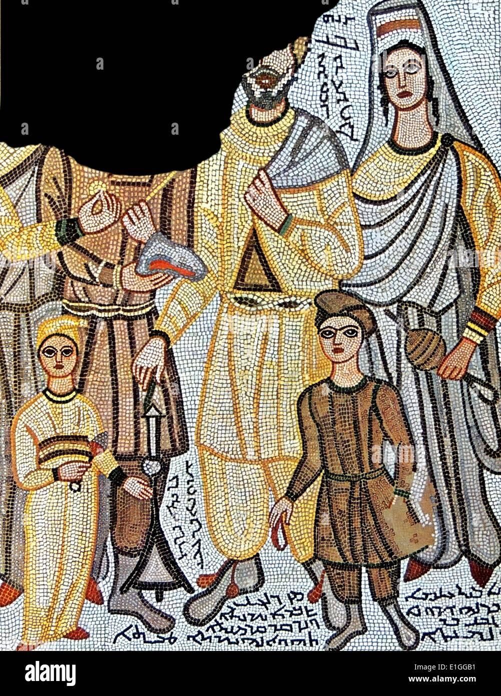 Mosaico funerario scoperto in antica Edessa; un insediamento greco oggi in Iraq. In Data inizio B.C. Immagini Stock