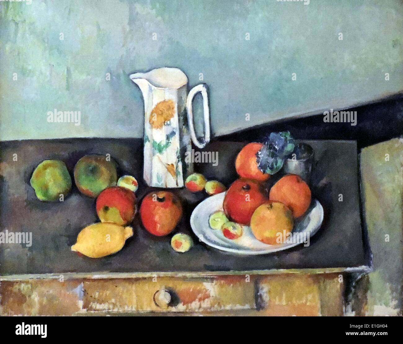 Nature morte di Paul Cezanne (1839-1906) olio su tela. Immagini Stock