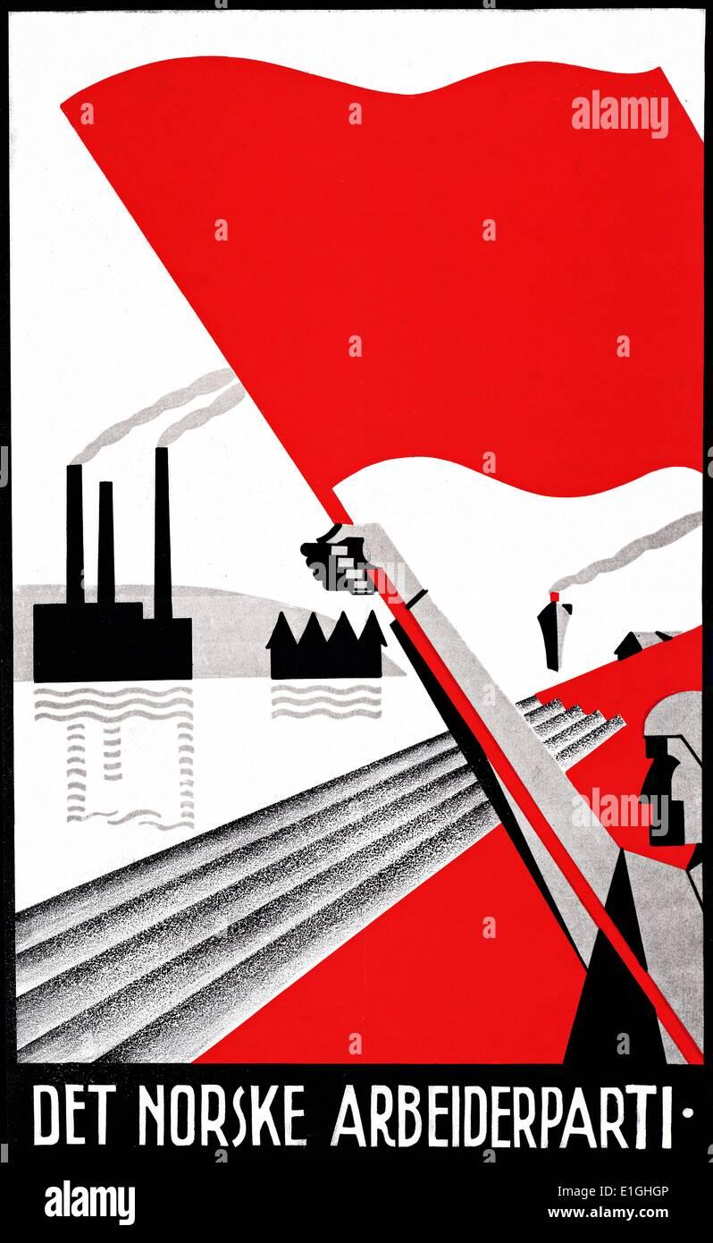 """Poster """"Il norvegese del partito laburista"""" progettati da Erling Nielsen Immagini Stock"""