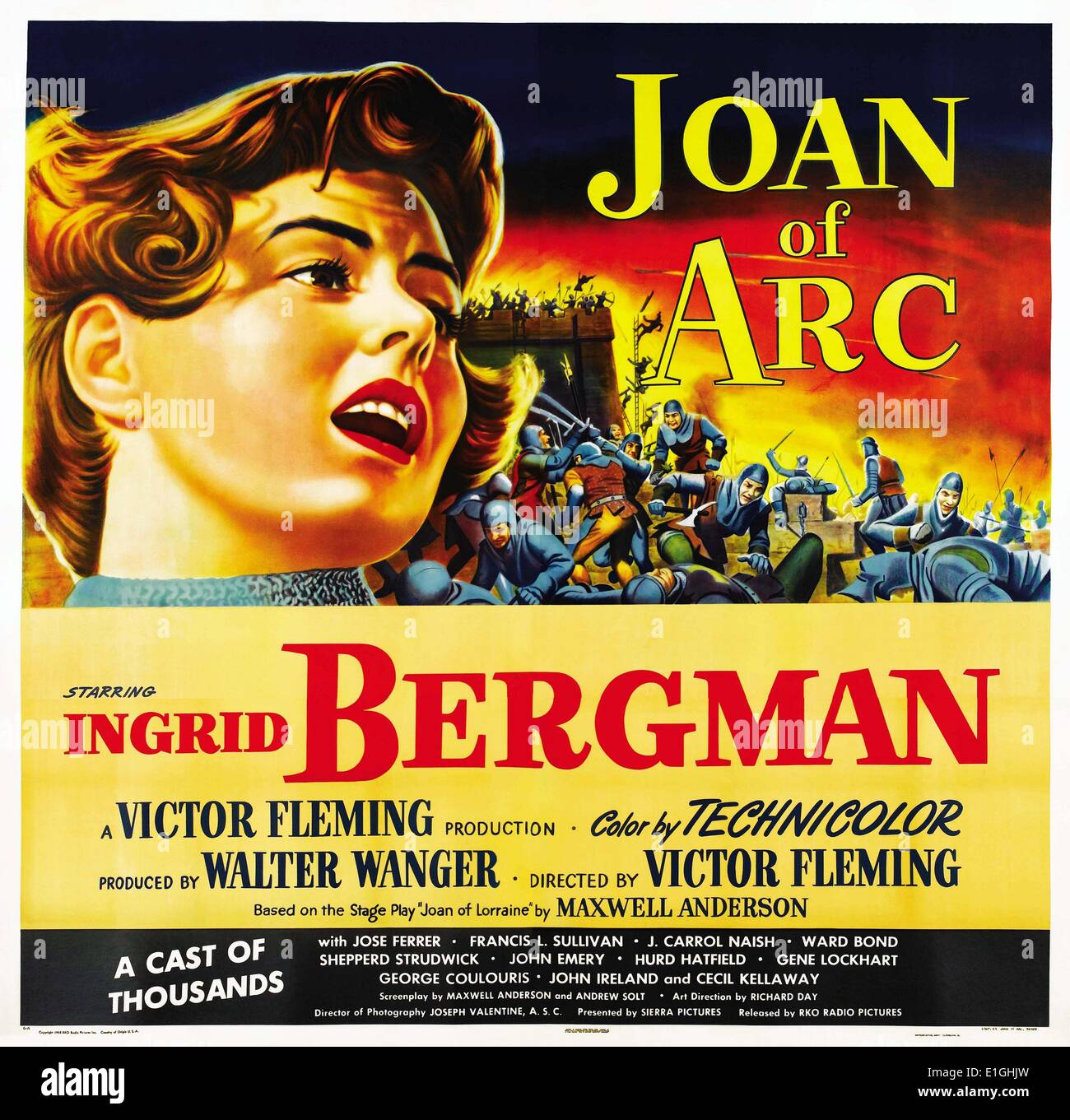 """""""Giovanna d Arco' un 1948 American epico dramma storico film con protagonista Ingrid Bergman. Immagini Stock"""