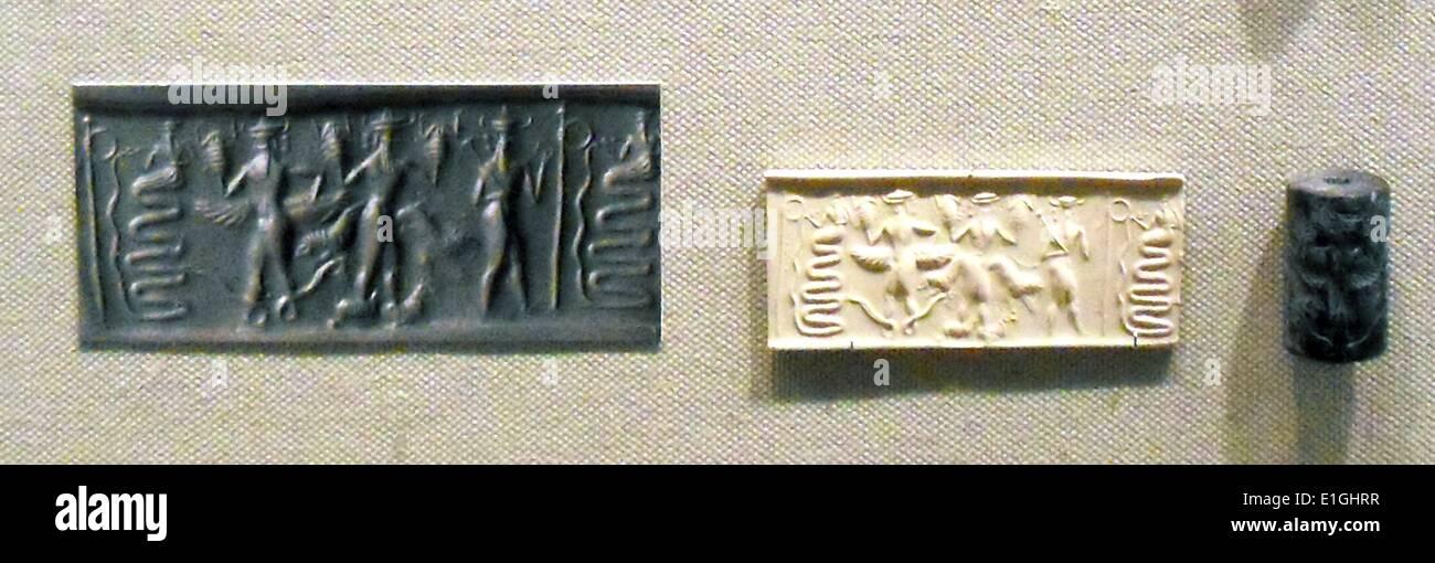 Sigilli cilindrici dalla Mesopotamia, periodo Akkadico circa 2500-2100 A.C. Immagini Stock
