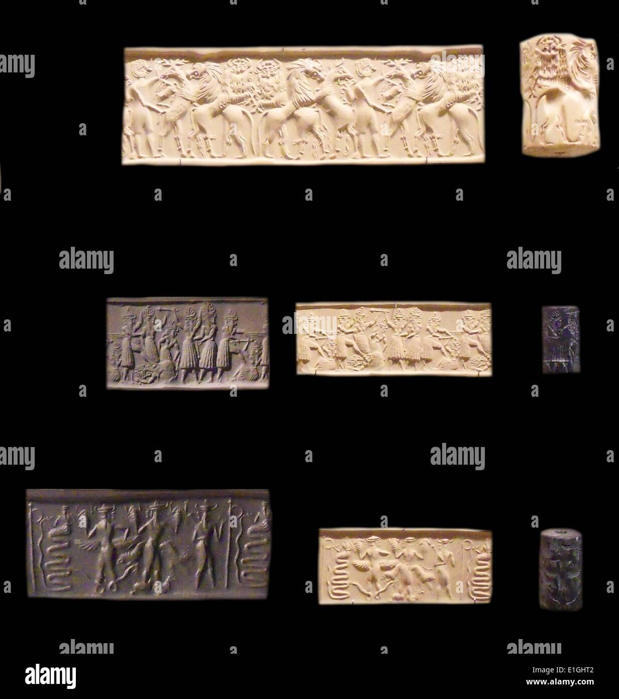 Sigilli cilindrici dalla Mesopotamia, Neo-Babylonian periodo circa 500 BC Immagini Stock