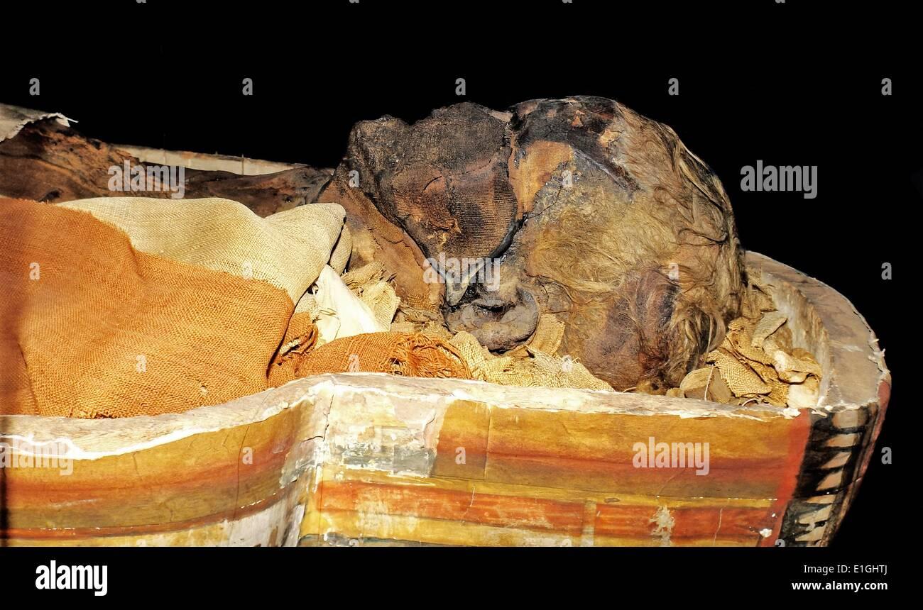 La bara di Dismutenibtes nel museo di storia culturale di Oslo 747-664BC, Egitto Immagini Stock
