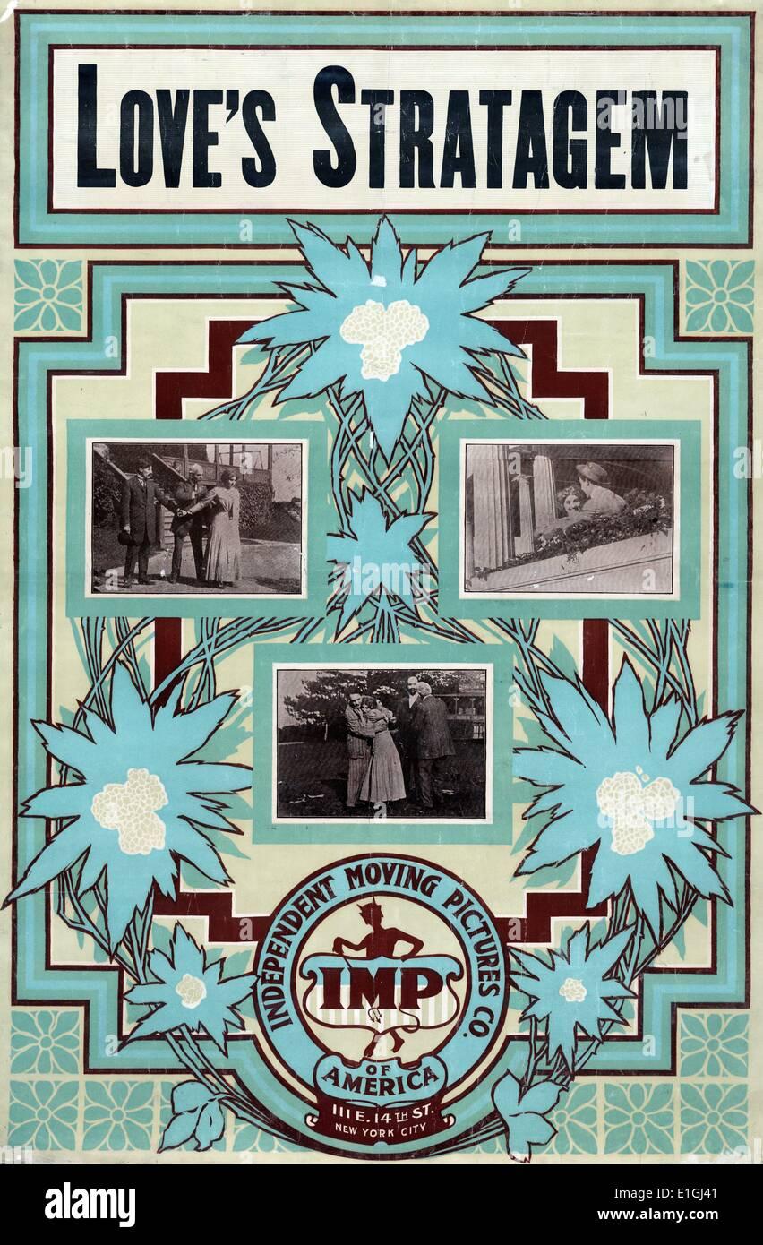Motion Picture poster per ama stratagemma 1909, che mostra tre scene del film impostato Immagini Stock