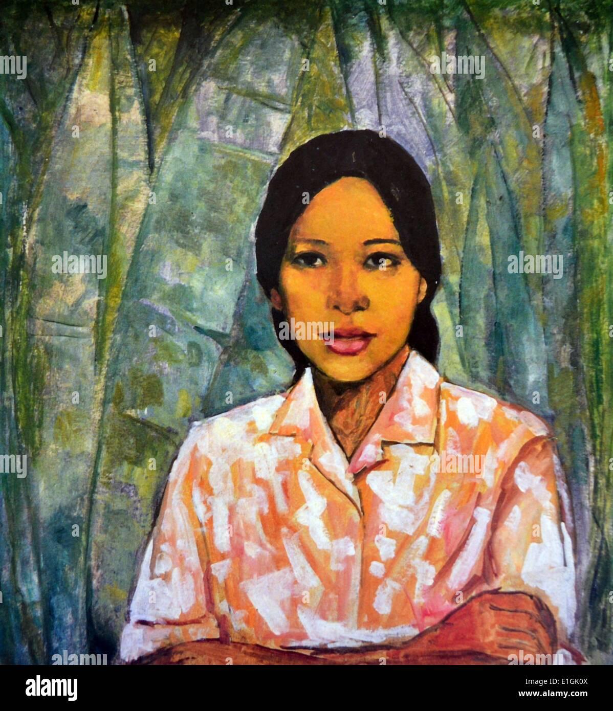 Victorio C. Edades (1895-1985), Country Girl, ca 1960. Olio su tela. Immagini Stock