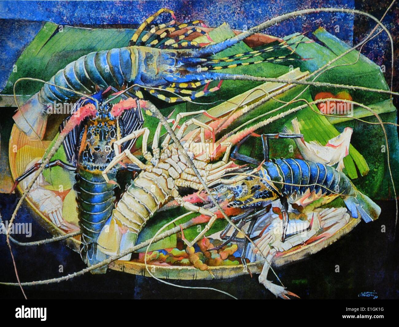 Efraim Sansone, Still Life con le aragoste, 1980. Acquerello. Immagini Stock