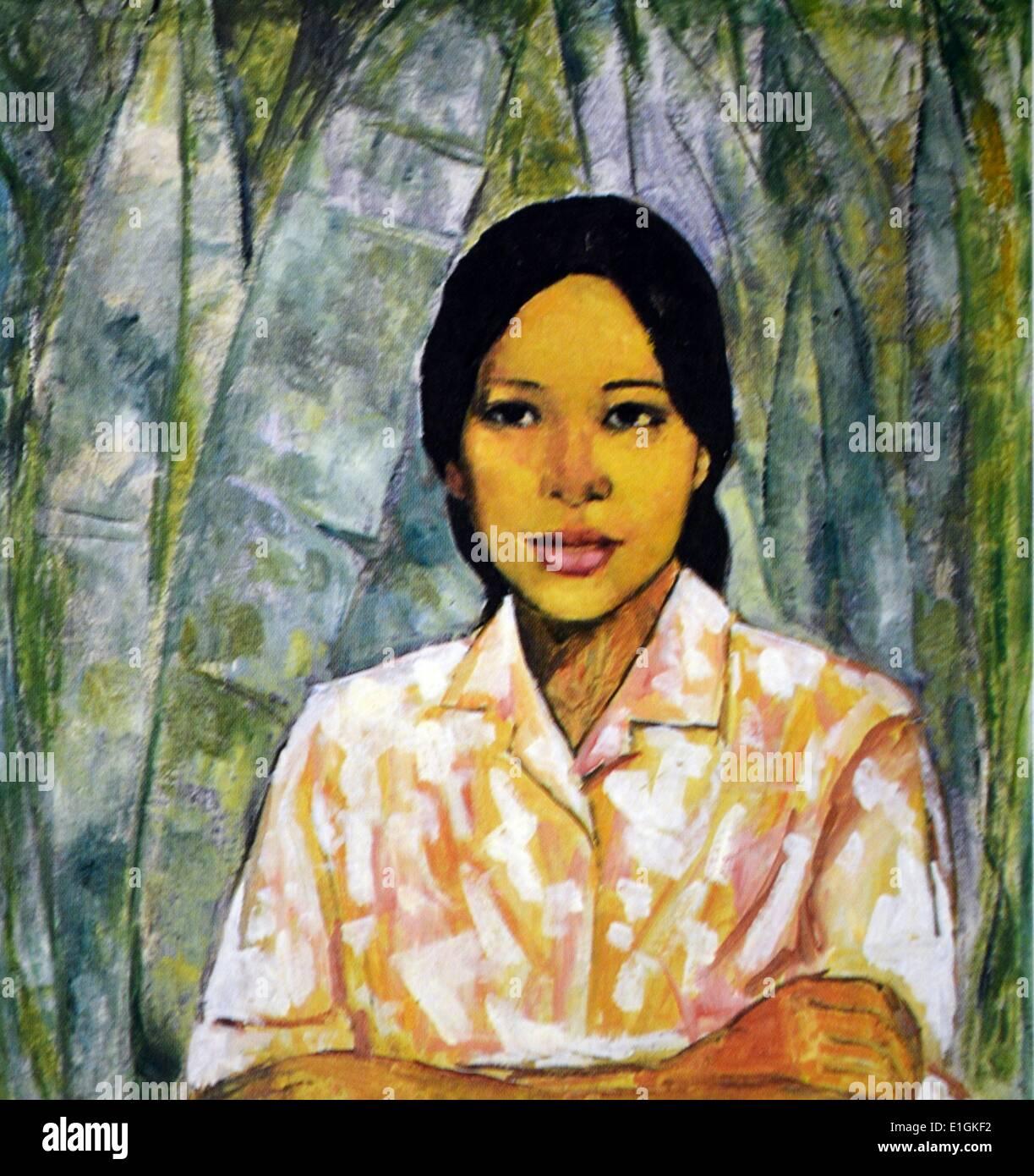 Victorio C. Edades, Country Girl, ca. 1960. Olio su tela. Immagini Stock