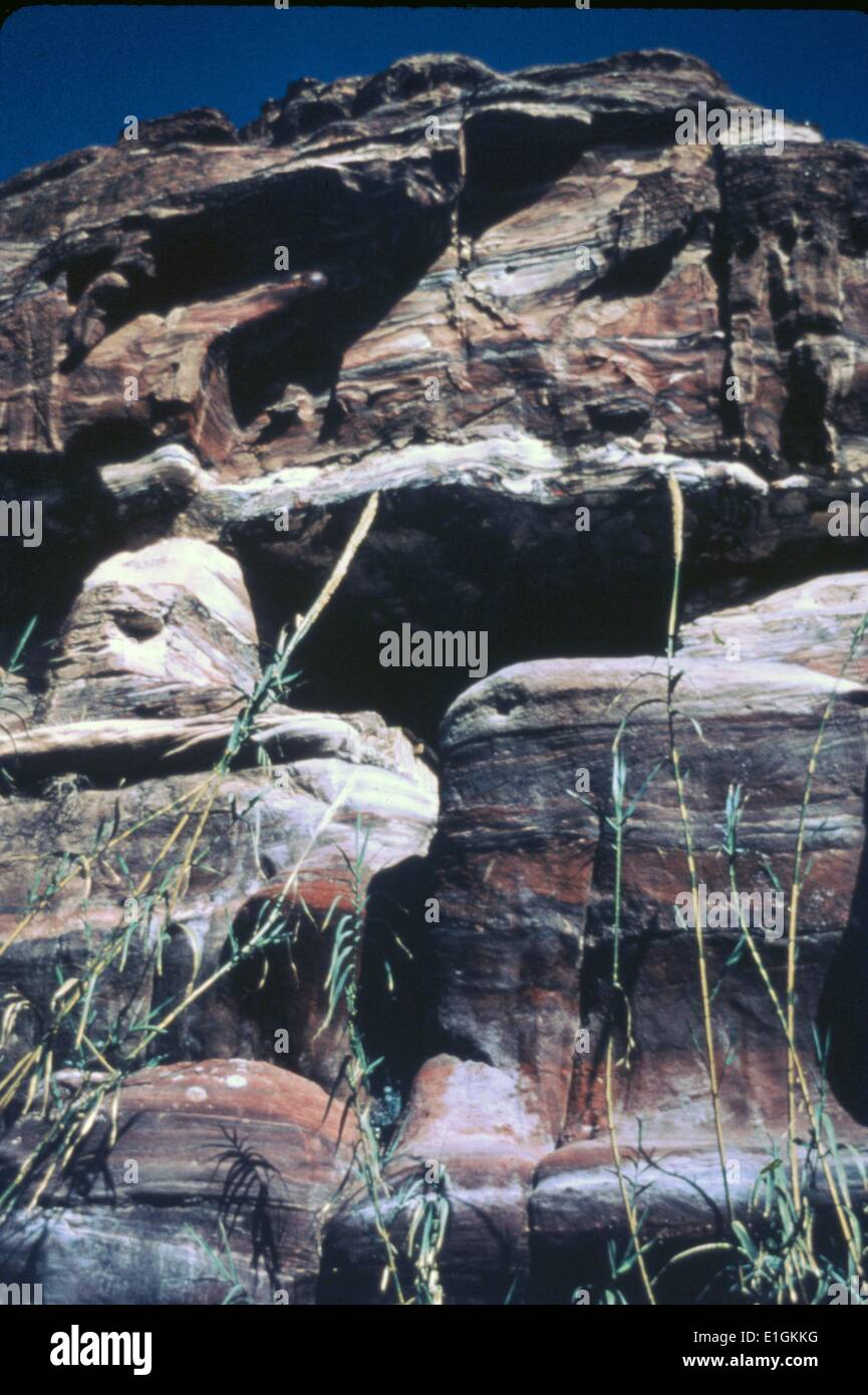 La storica città di Petra in Giordania Immagini Stock