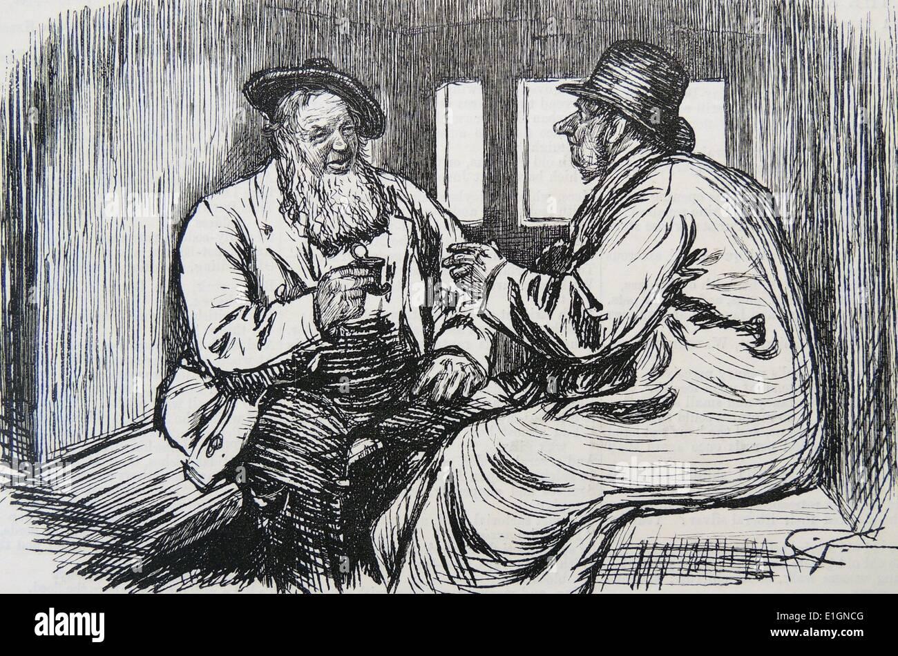 Viaggiatore ferroviario offrendo la sua scatola di tabacco da fiuto
