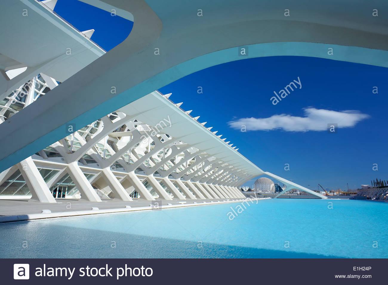 Dettagli architettonici della Città delle Arti e delle Scienze di Valencia, Spagna Immagini Stock