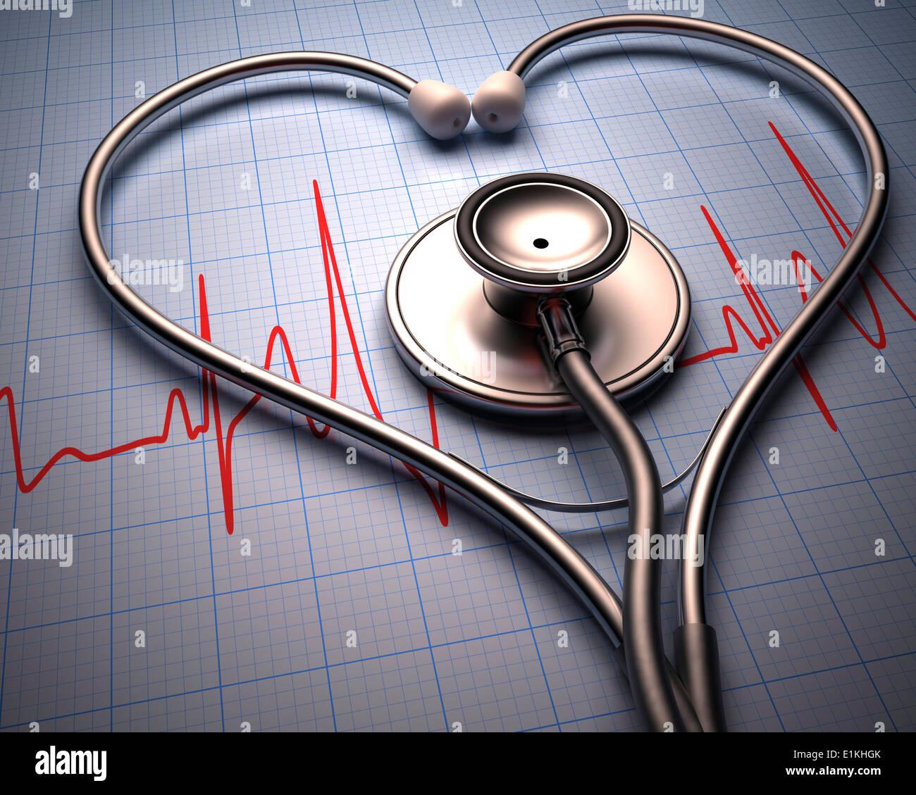 Uno stetoscopio in forma di cuore e un elettrocardiografo. Immagini Stock