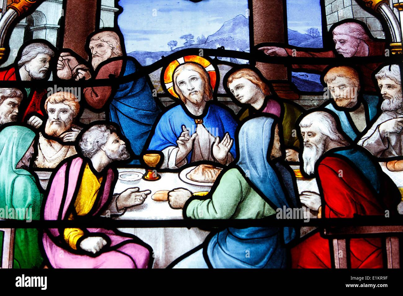 Saint Aignan Chiesa. L Ultima Cena di Gesù con i dodici apostoli. Foto Stock
