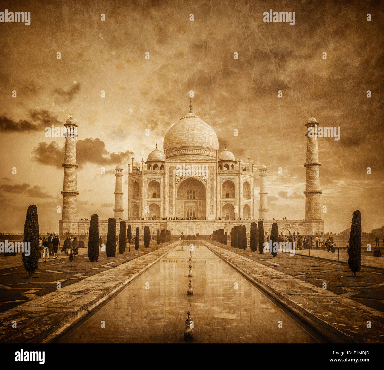 Taj Mahal immagine vintage. Simbolo indiano - India travel background. Agra, Uttar Pradesh, India Immagini Stock