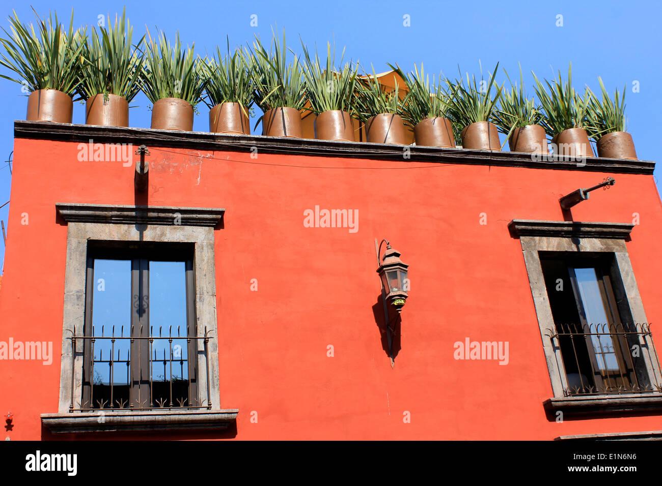Casa con muri rossi e vasi con erba in sul terrazzo superiore san