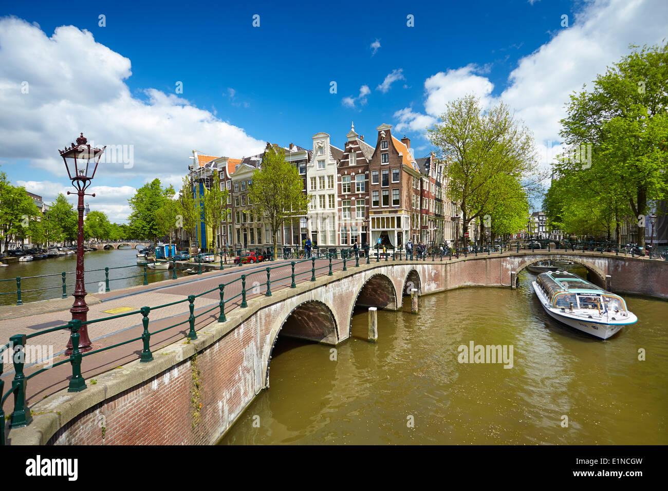 Canale di Amsterdam - Olanda Paesi Bassi Immagini Stock