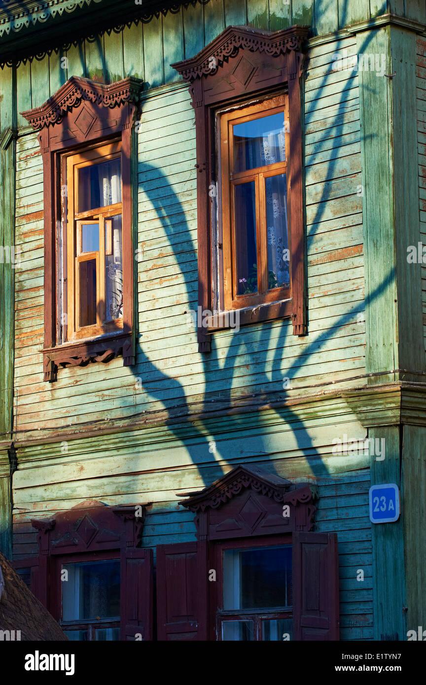 La Russia, Siberia, Irkutsk, architettura in legno Immagini Stock