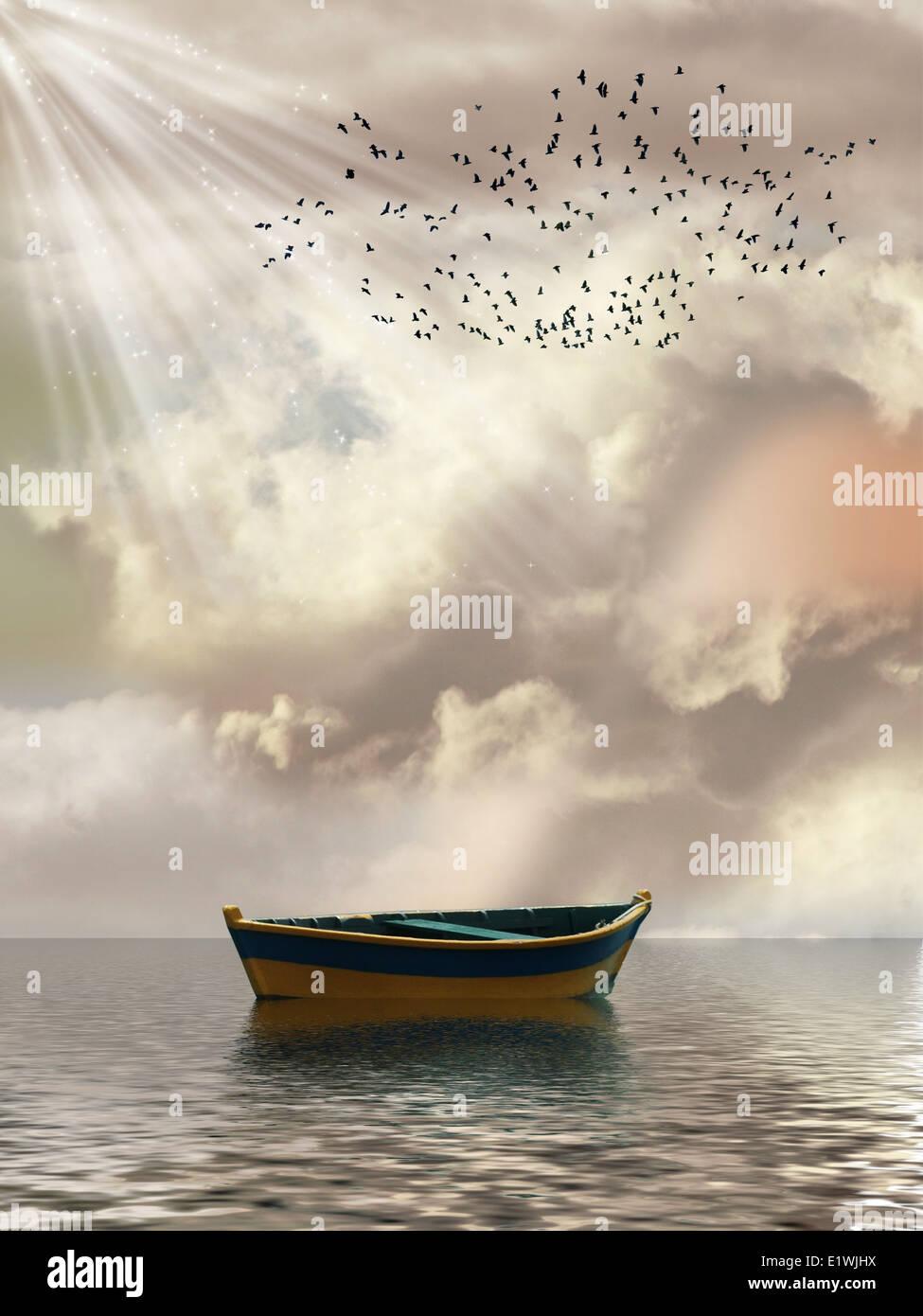 Paesaggio di fantasia nel mare con barca e uccelli Foto Stock