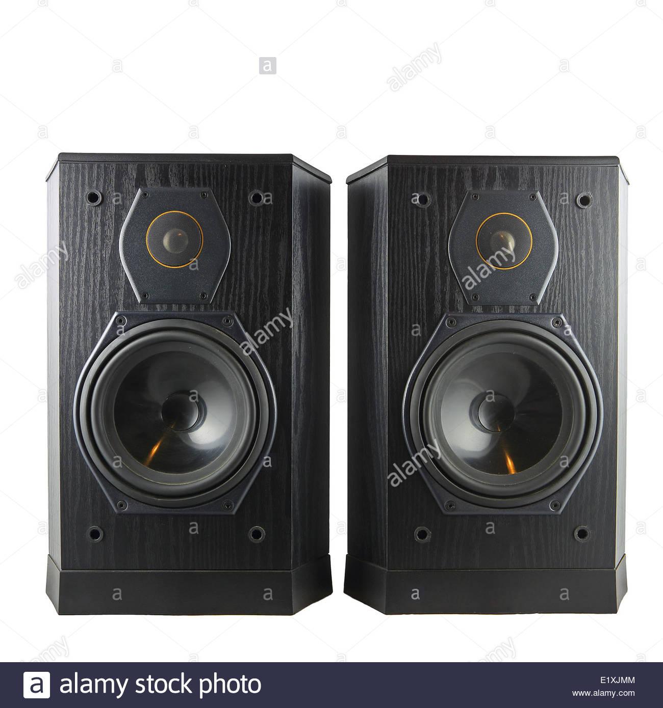 Nero altoparlanti hi-fi Foto Stock