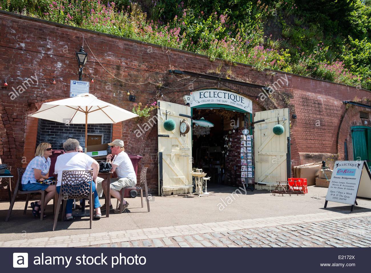 Eclectique Shop presso il molo, Exeter, Devon, Regno Unito. Immagini Stock