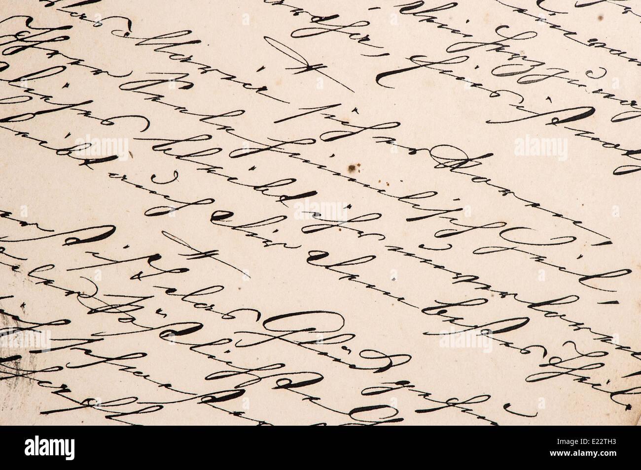 La grafia vintage con undefined. testo manoscritto. grunge sfondo della carta Immagini Stock