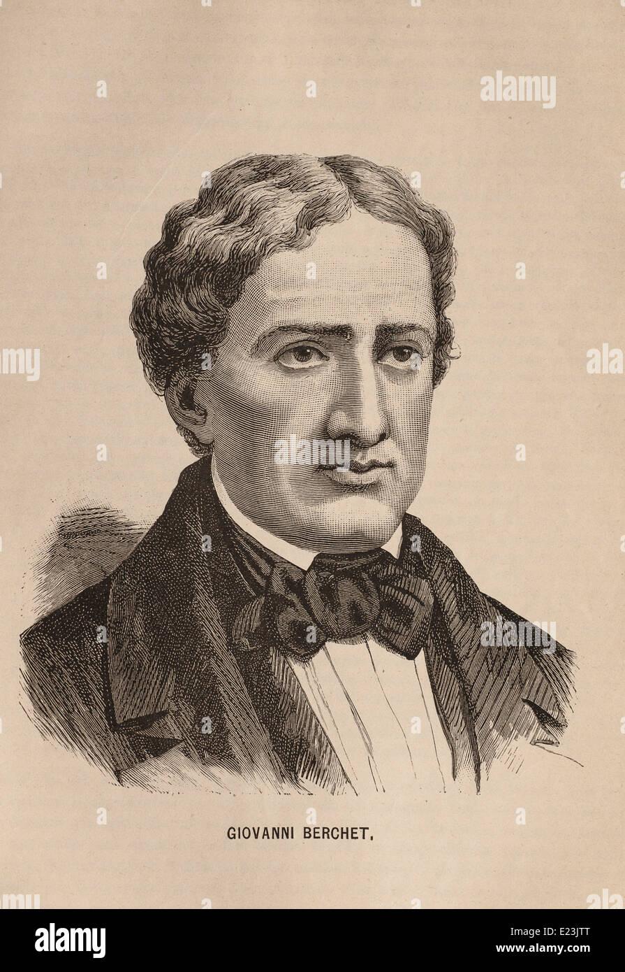 Giuseppe Mazzini dal libro di Jessie W. Mario di vita di Mazzini. Ritratto di Giovanni Berchet Immagini Stock