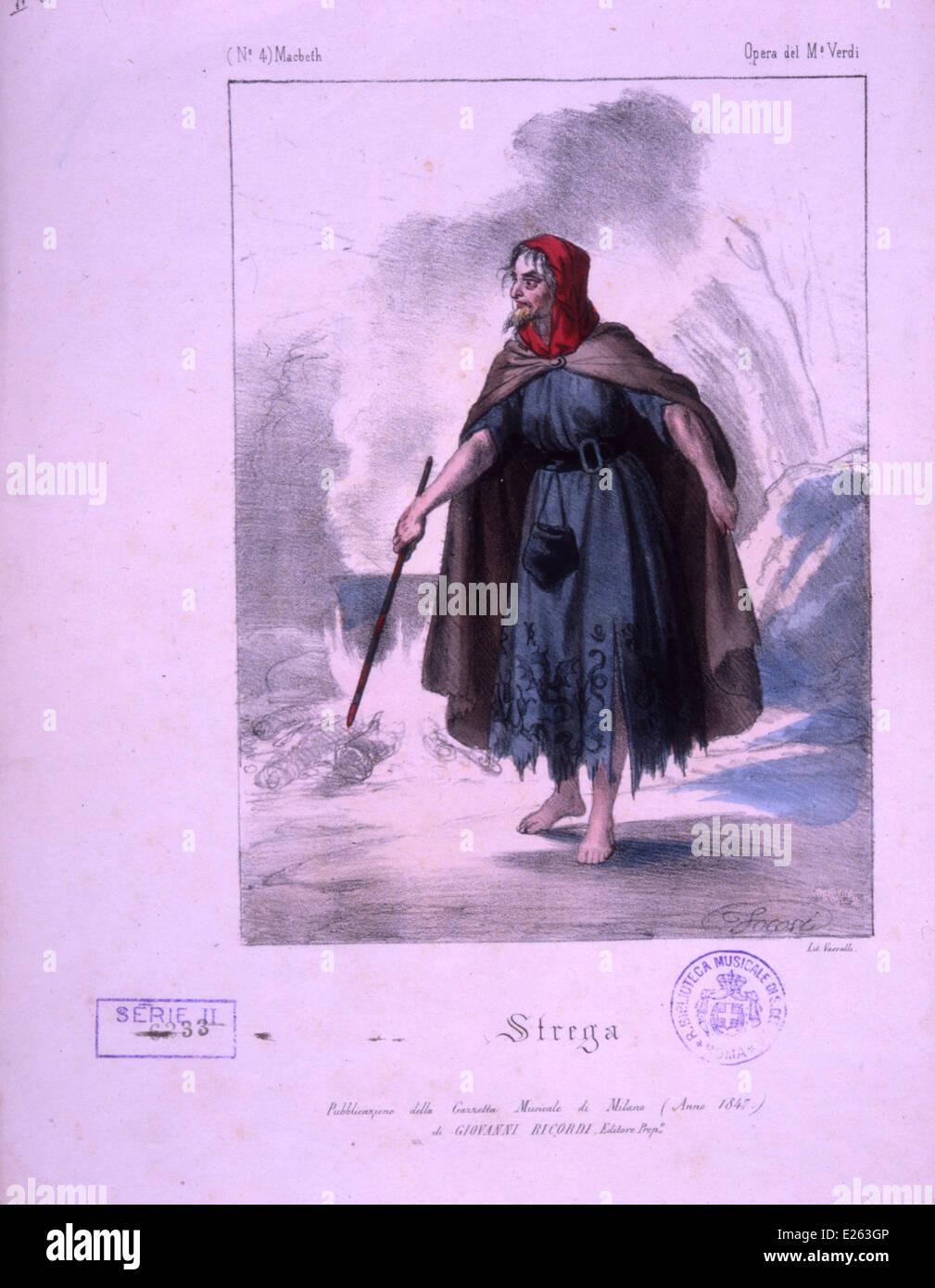 Giuseppe Verdi,macbeth,la strega,litografia,1800 Immagini Stock