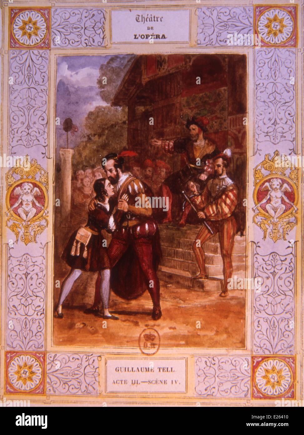 Guglielmo Tell di Gioacchino Rossini,atto III,litografia,Bibliothèque nationale de France, Parigi Immagini Stock