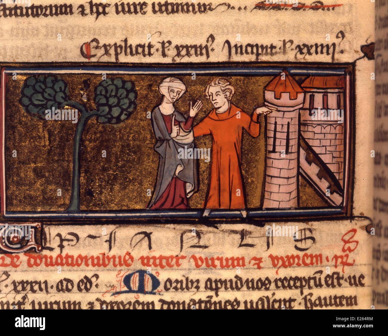 Medioevo,miniatura delle Pandette justinianus,le leggi di Giustiniano,xiii secolo,Milano,biblioteca trivulziana Immagini Stock