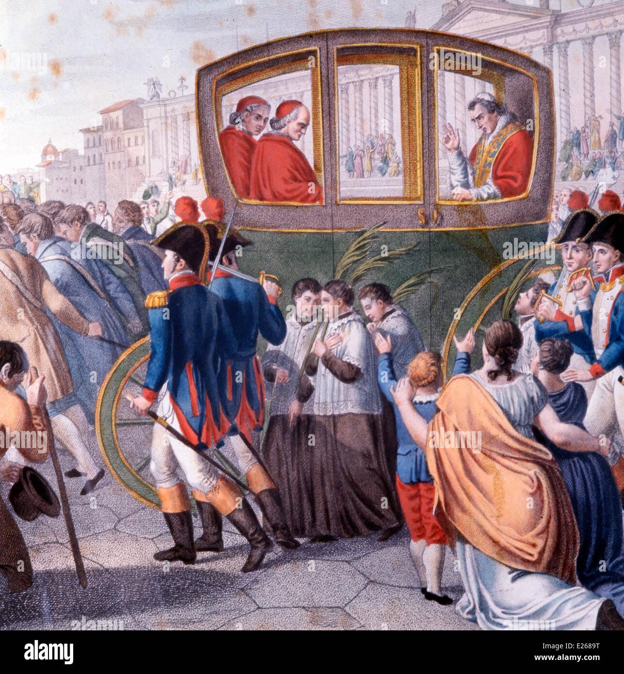 Papa Pio VII lascia Roma,litografia Immagini Stock