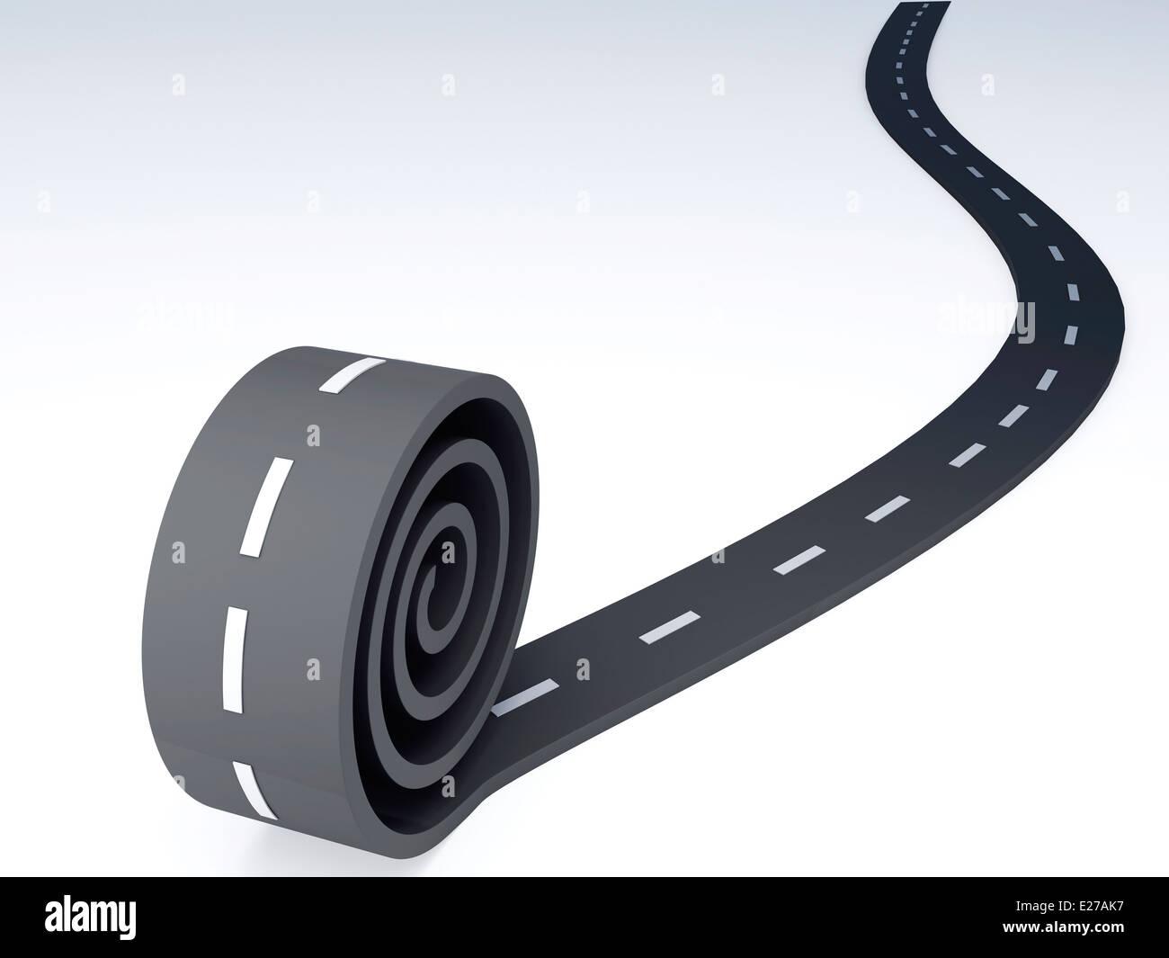 Abstract asfalto strada tortuosa. 3d illustrazione Foto Stock
