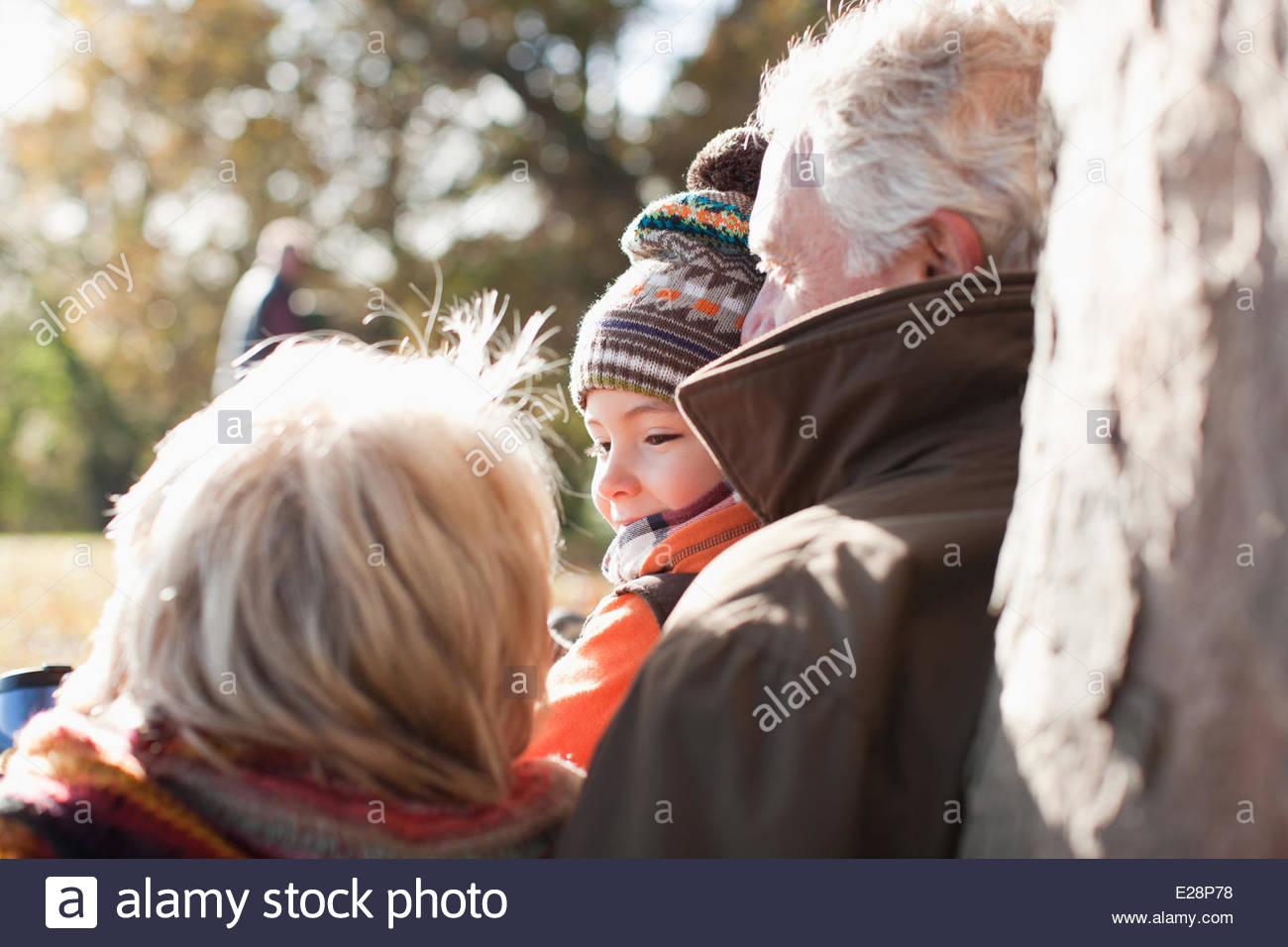 Nonni appoggiato contro il tronco di albero Immagini Stock